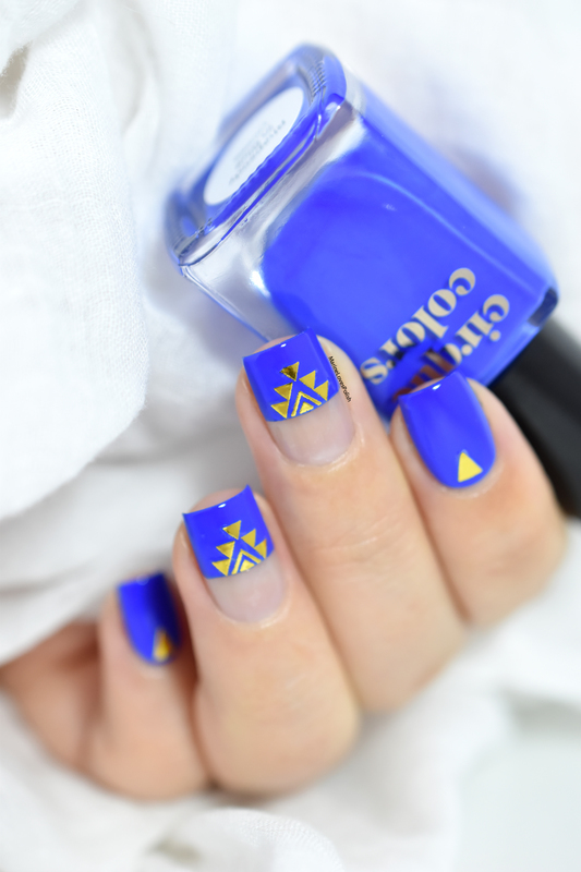 blue aztec nail art by Marine Loves Polish