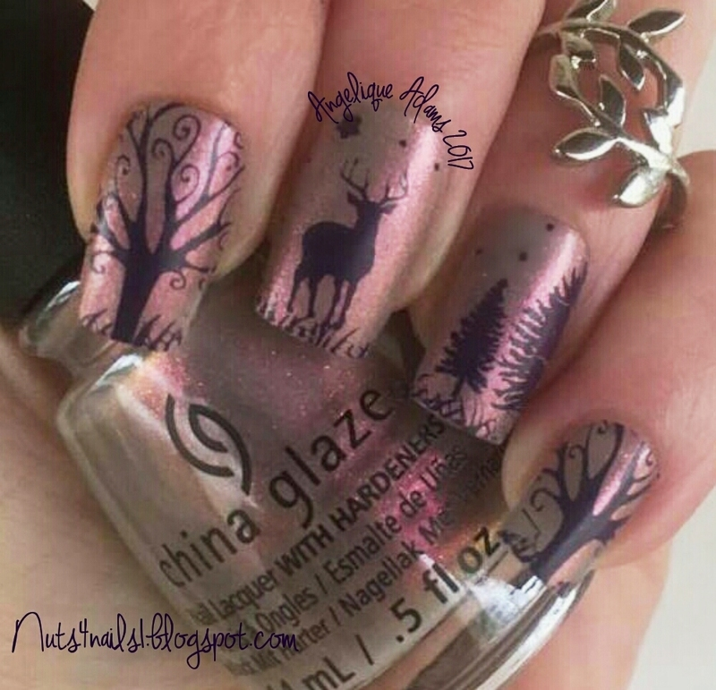 Fall at Sunset nail art by Angelique Adams