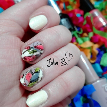 Colorful feathers nail art by Iulia
