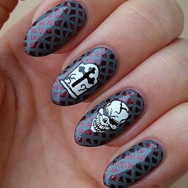 Skulls - #clairestelle8halloween Challenge nail art by Mgielka M