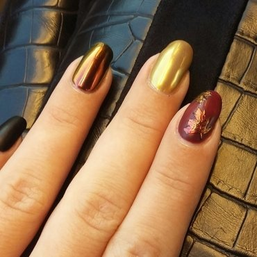 Multichrome fall nails nail art by mariejane