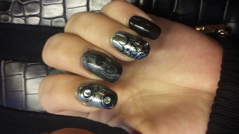 Mirror chrome halloween nails nail art by mariejane