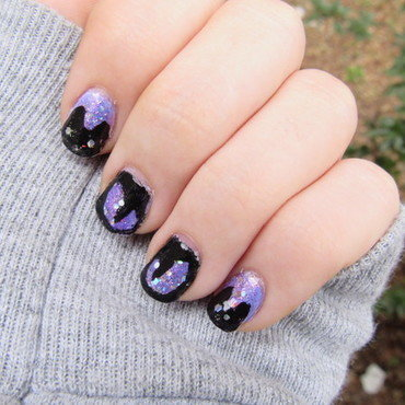 Holo Cats nail art by Juli