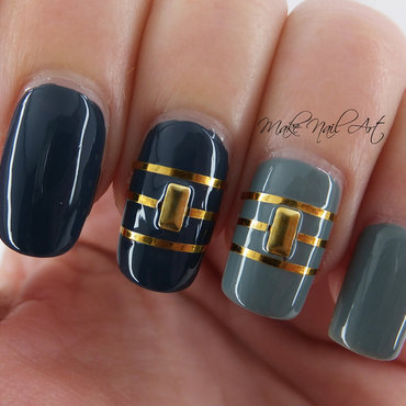 Grey and Gold nail art by Make Nail Art