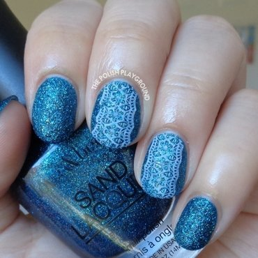 Blue Texture with White Floral Lace Stamping nail art by Lisa N