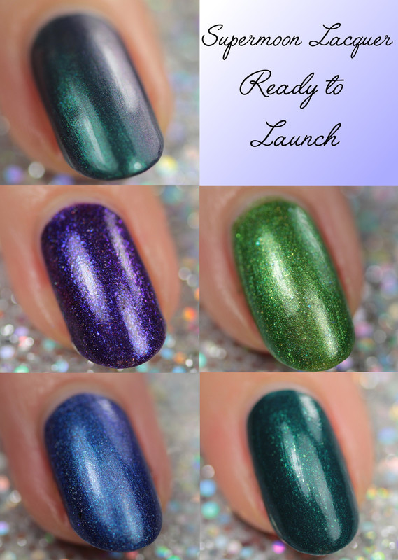 Supermoon lacquer Mystic Mountain, Supermoon lacquer Polar Light, Supermoon lacquer Pistol Star, Supermoon lacquer Tidal Disruption, and Supermoon lacquer Galactic Halo Swatch by Kerry_Fingertips