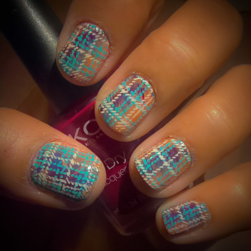 Plaid Nails: Double stamping for #aznailartchallenge nail art by Avesur Europa