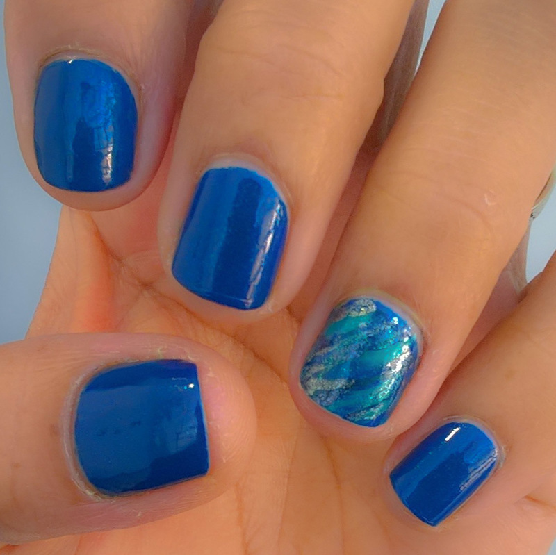Blue & Green for When Colours Collide nail art by Avesur Europa