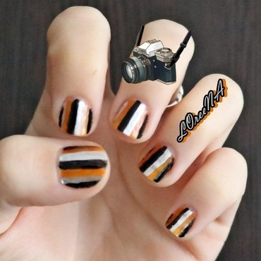 Autumn Stripes nail art by LOreeNA