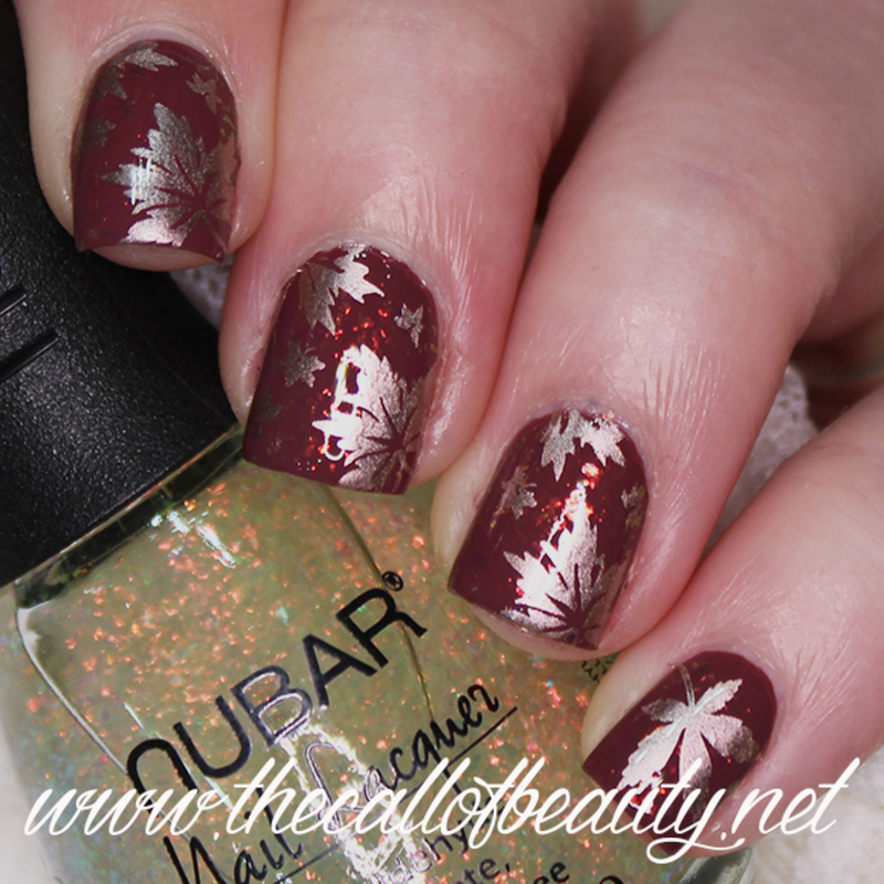 Flakie Leaves nail art by The Call of Beauty