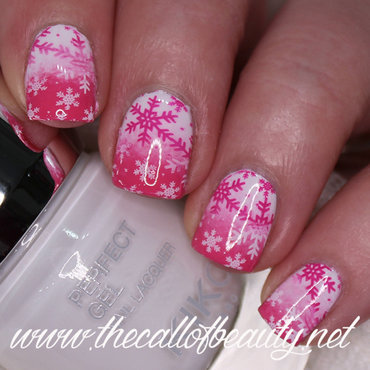 Pink Snow nail art by The Call of Beauty