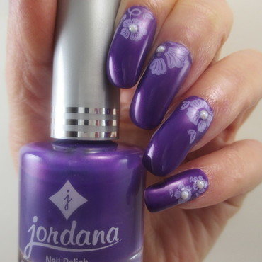 Purple n Pearls nail art by NinaB