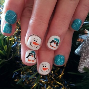 Christmas penguin and snowman nail art by Funky fingers nail art