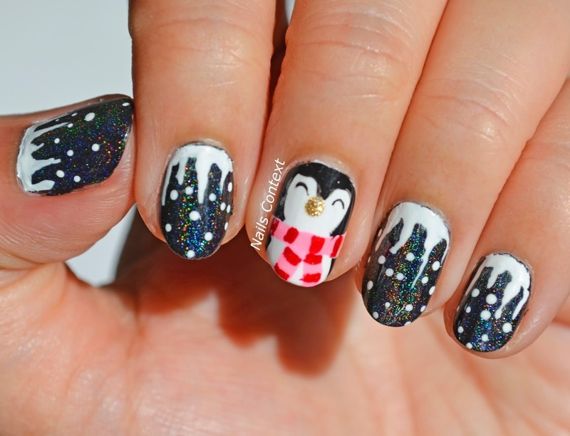 Cute Penguin nail art by NailsContext