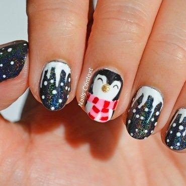 Cute Penguin nail art by NailsContext