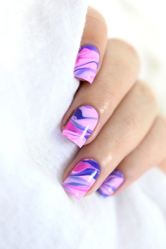 Girly marble nail art by Marine Loves Polish