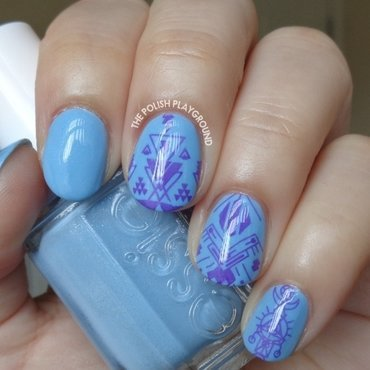Blue with Purple Tribal Inspired Stamping nail art by Lisa N