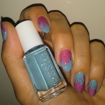 Pink and blue dry marble nail art by only real nails.