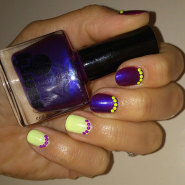 Purple and neon nail art by only real nails.