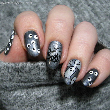 Ghosts nail art by Nail Crazinesss