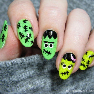 Frankenstein nail art by Nail Crazinesss