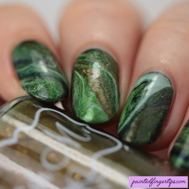 Forest green drip marble nail art by Kerry_Fingertips