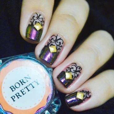 Chameleon + Elegant Nail Stamping nail art by ℐustine