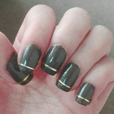 Gold striping tape accents nail art by Daisyq
