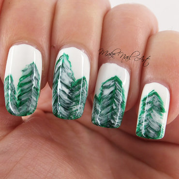WInter Forest Nail Art Design nail art by Make Nail Art