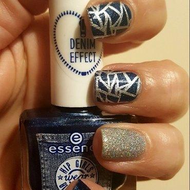 Denim Effect nail art by Katarinna