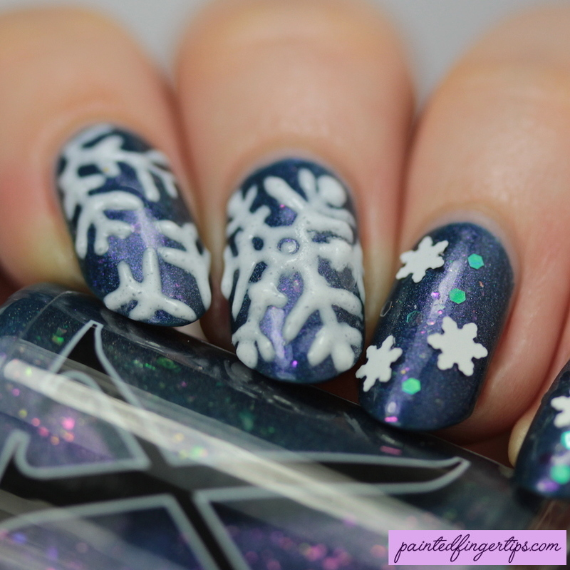 3D snowflakes nail art by Kerry_Fingertips