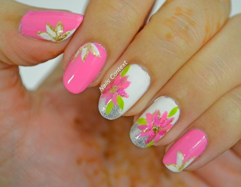 Pink Poinsettia Nails nail art by NailsContext