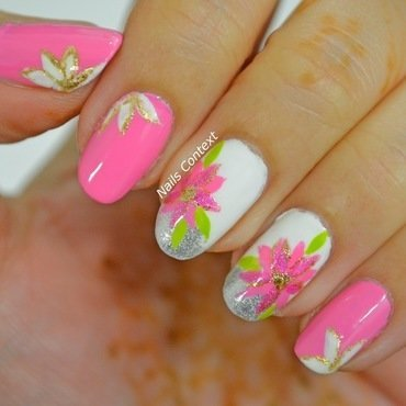 Pink Poinsettia Nails nail art by NailsContext