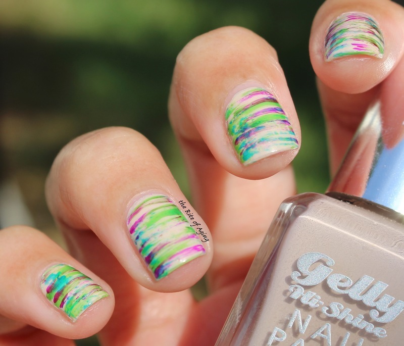 Neon Stripes nail art by Monica