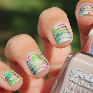 Neon Stripes nail art by Monica