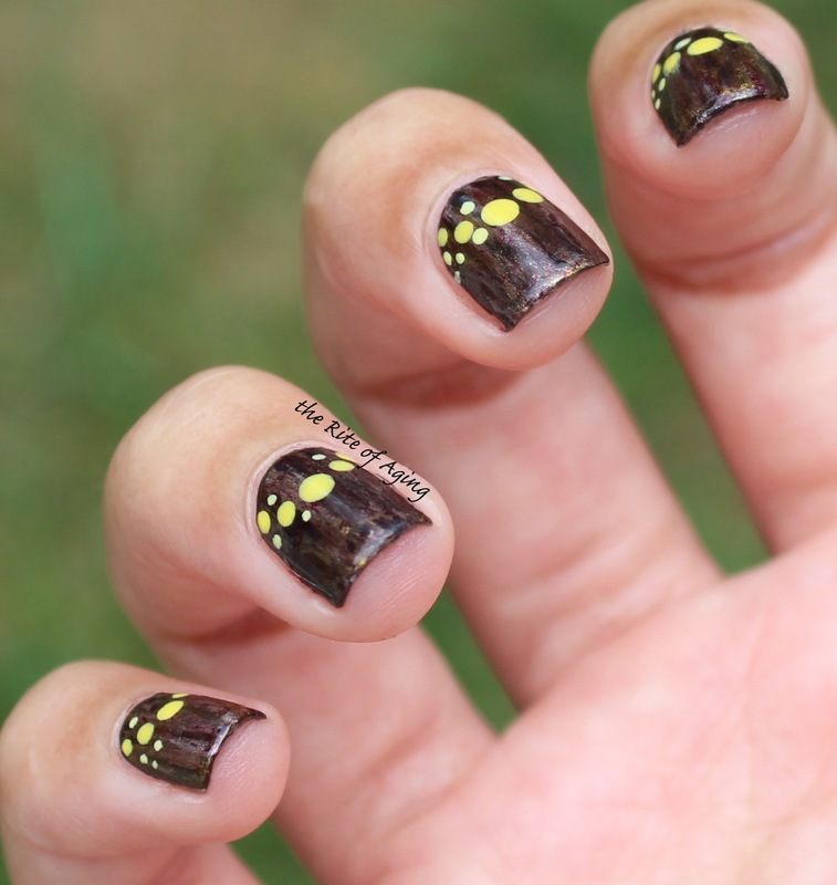Dotted Half Moons nail art by Monica
