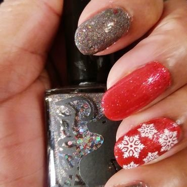 Let It Snow nail art by Jackie Bodick