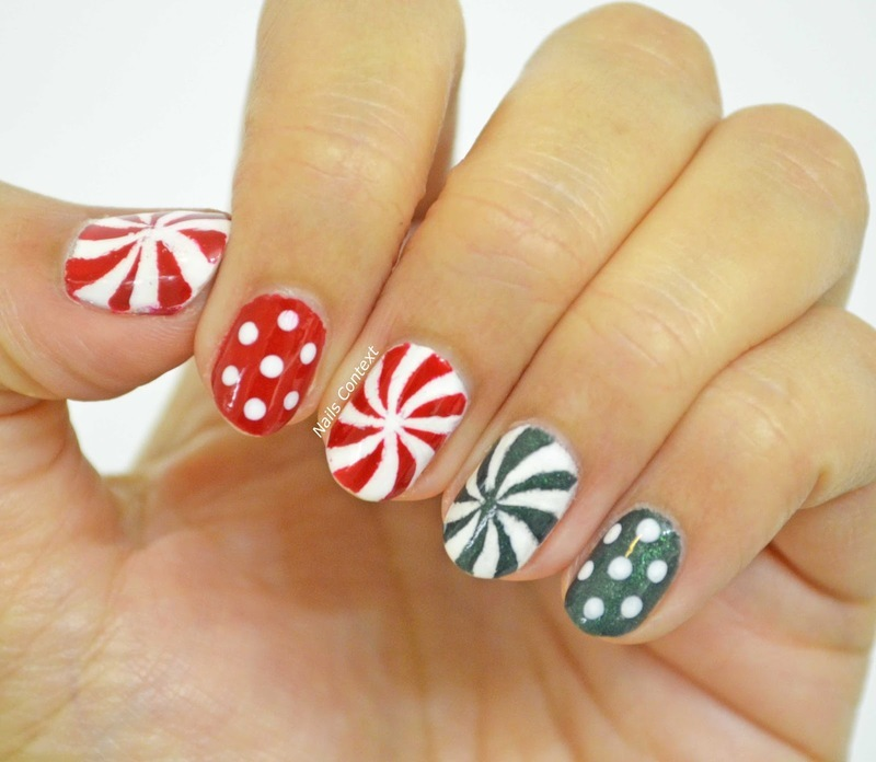 Peppermint Candy Nails  nail art by NailsContext
