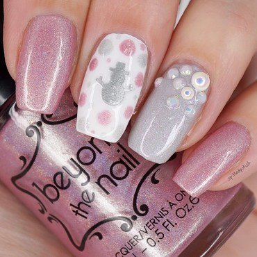 Silver and Pink Snowman Nails nail art by Maddy S