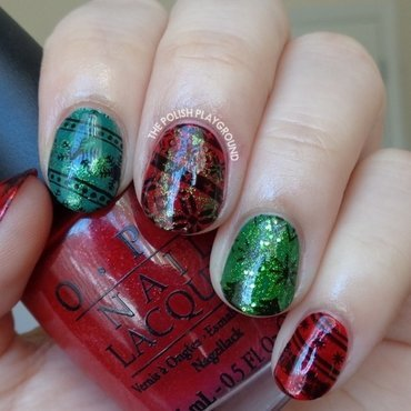 Ugly Sweater Holday Inspired Stamping nail art by Lisa N