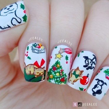 Vintage Christmas Nails nail art by JeeA Lee