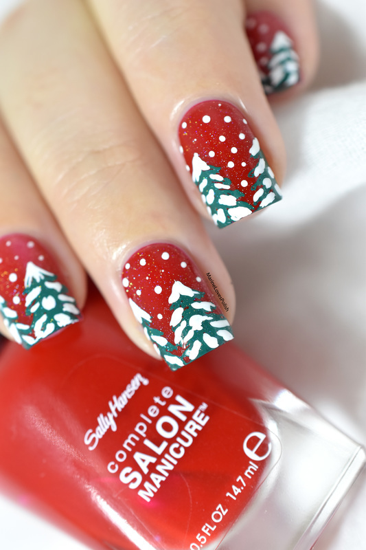 Snowy trees nail art by Marine Loves Polish
