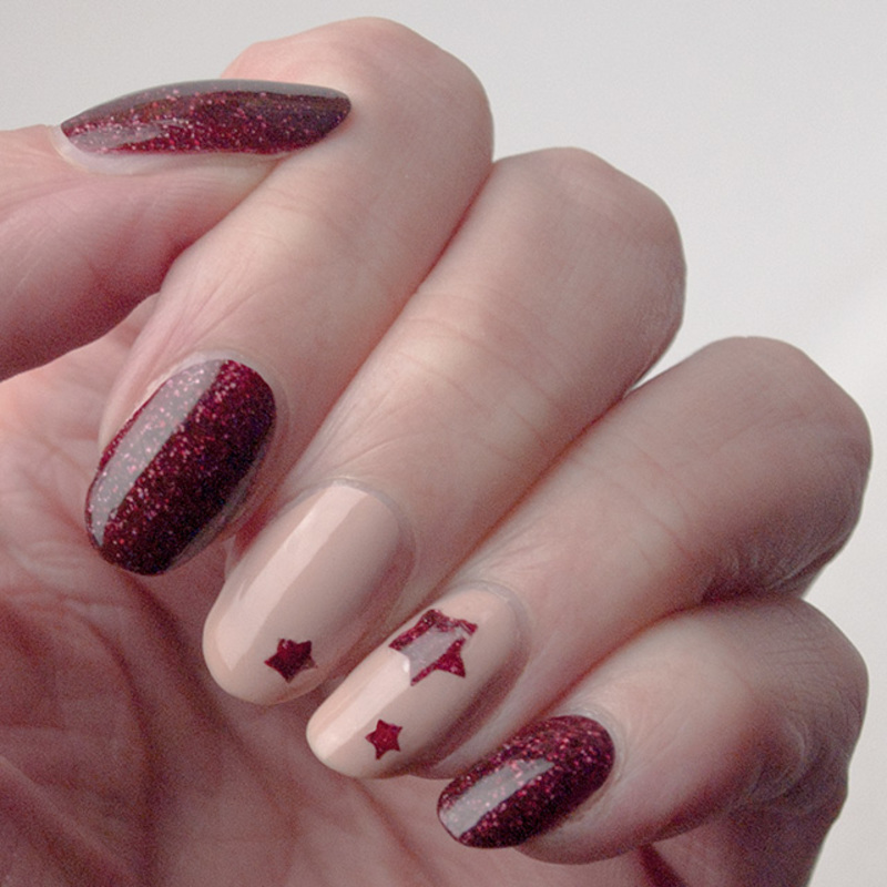 Garnet stars nail art by What's on my nails today?