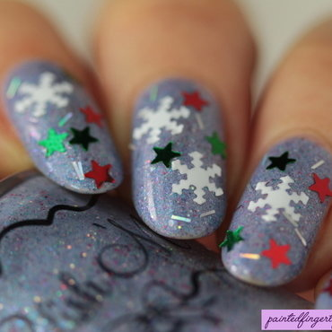 Snowflake nail glitter nail art by Kerry_Fingertips