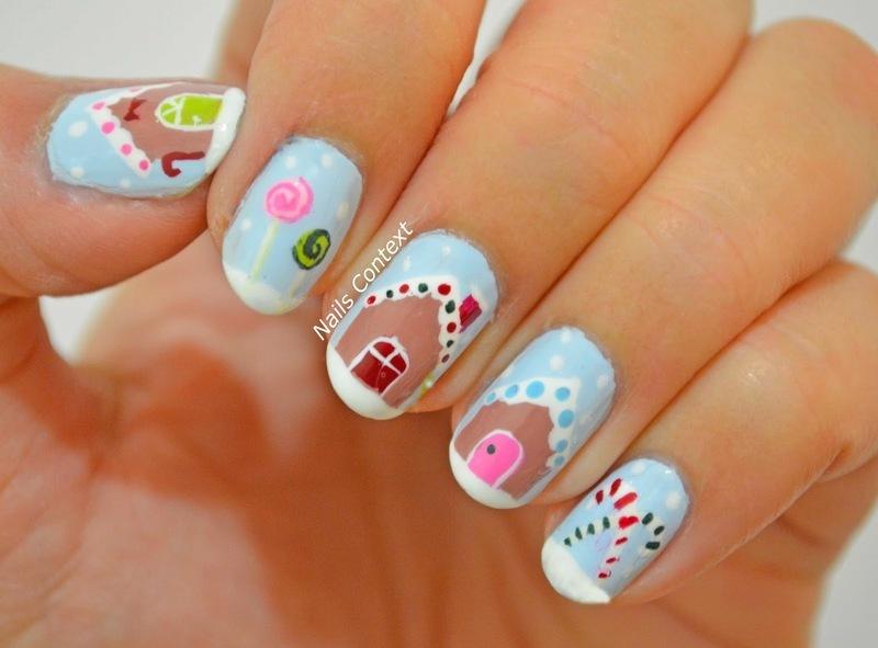 Gingerbread House nail art by NailsContext