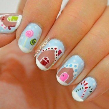 Gingerbread House nail art by NailsContext