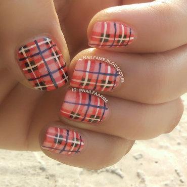 Plaid Nails nail art by Nailfame