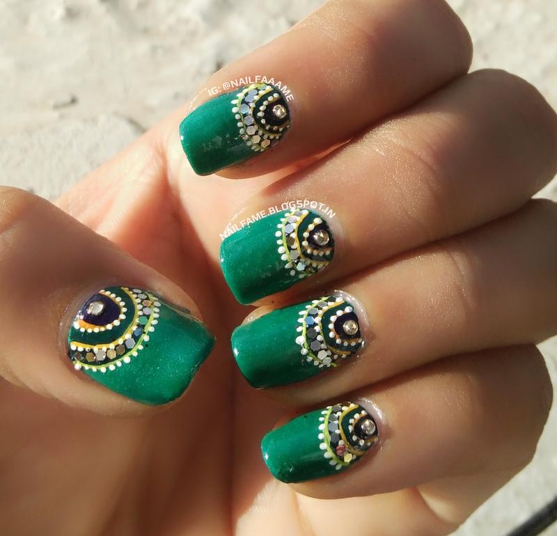 HALF MOON nail art by Nailfame