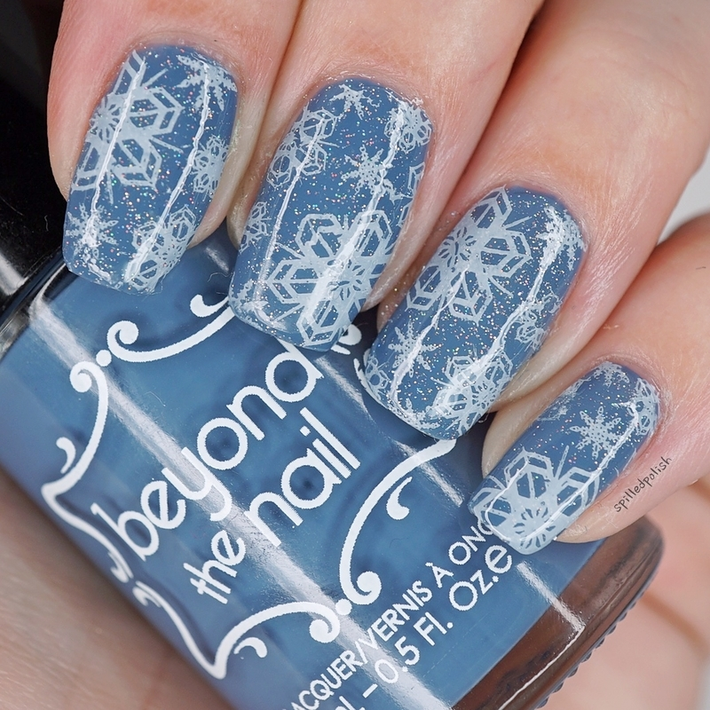 Glitter Snowflakes nail art by Maddy S