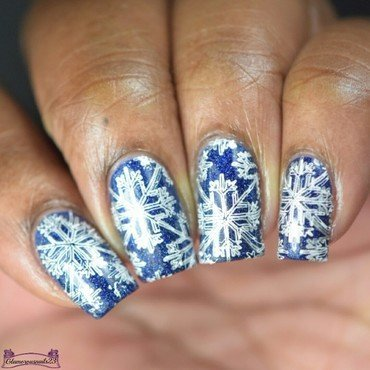 Nail Crazies Unite Day 29 - Blue, Silver & White Winter nail art by glamorousnails23